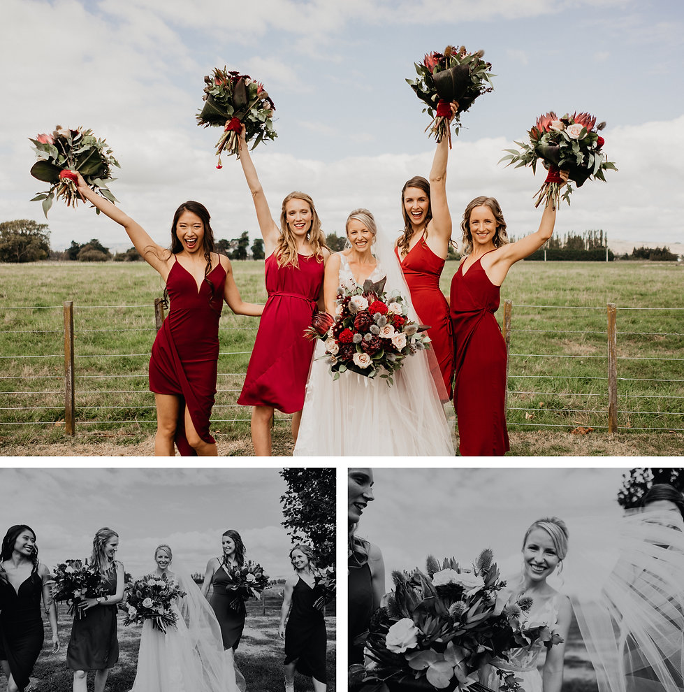 featherson summer wedding, bride and bridesmaids photos, mismatched red dresses