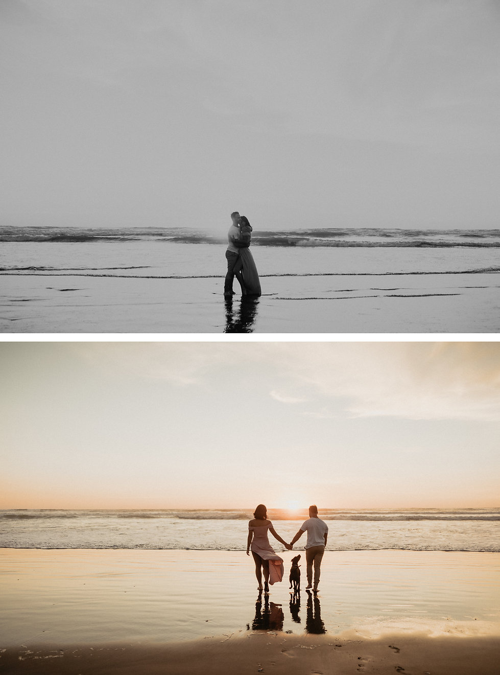 beach lovers session, in water, doggo, sunset engagement session
