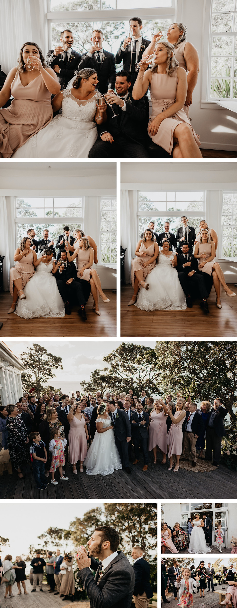 wedding at the officers mess in narrow neck beach, auckland new zealand, group photos, bubbles at wedding