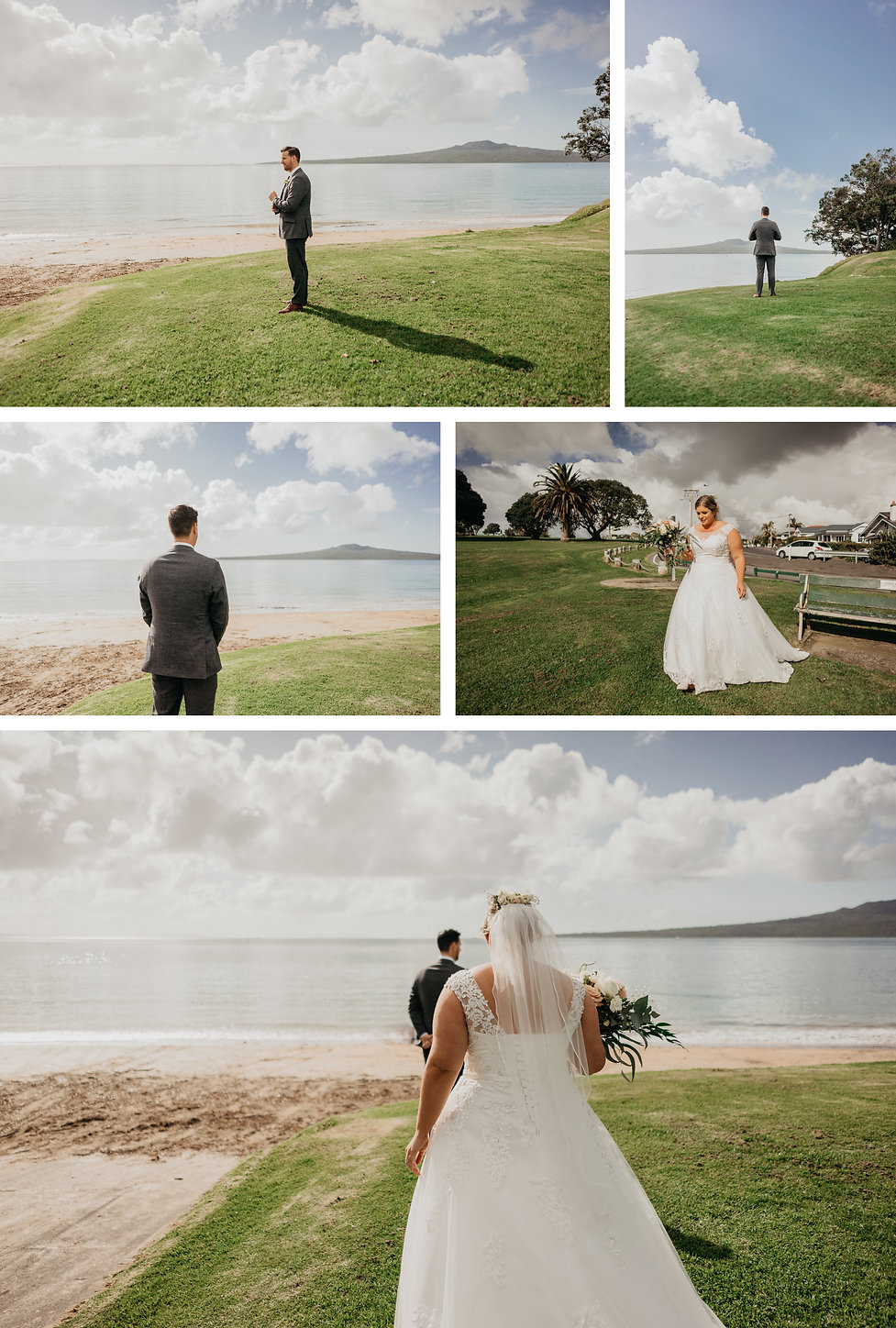 first look bridal photos at narrow neck beach in auckland new zealand captured by wanderlusting lovers