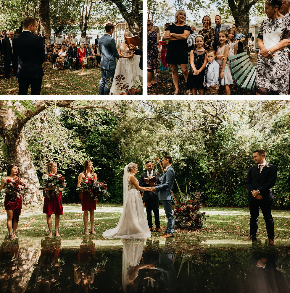 wedding ceremony at rose & smith in featherston, captured by wanderlusting lovers