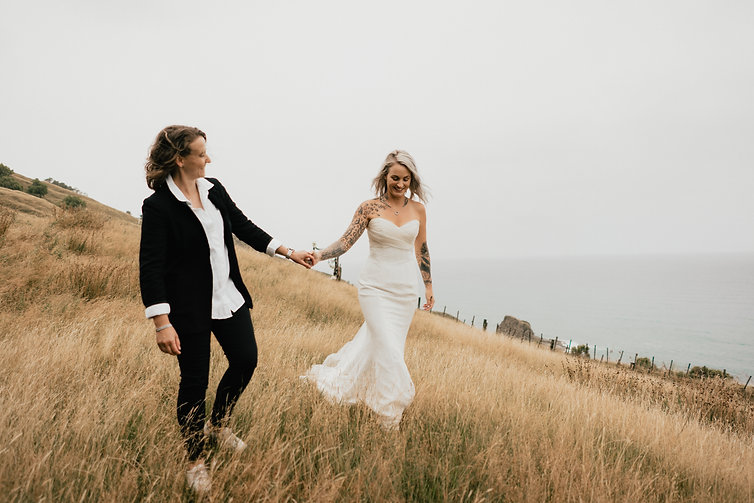 same sex elopement wedding photos captured on New Zealands East Cape by Wanderlusting Lovers