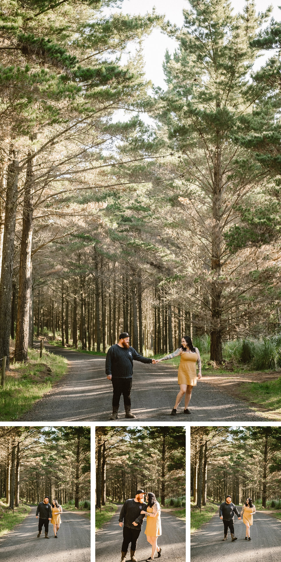 waiuku forest engagement session, pre wedding what to wear by wanderlusting lovers