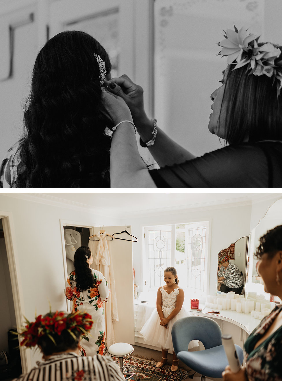 Bridal getting ready at Kelliher Estate, in Auckland New Zealand