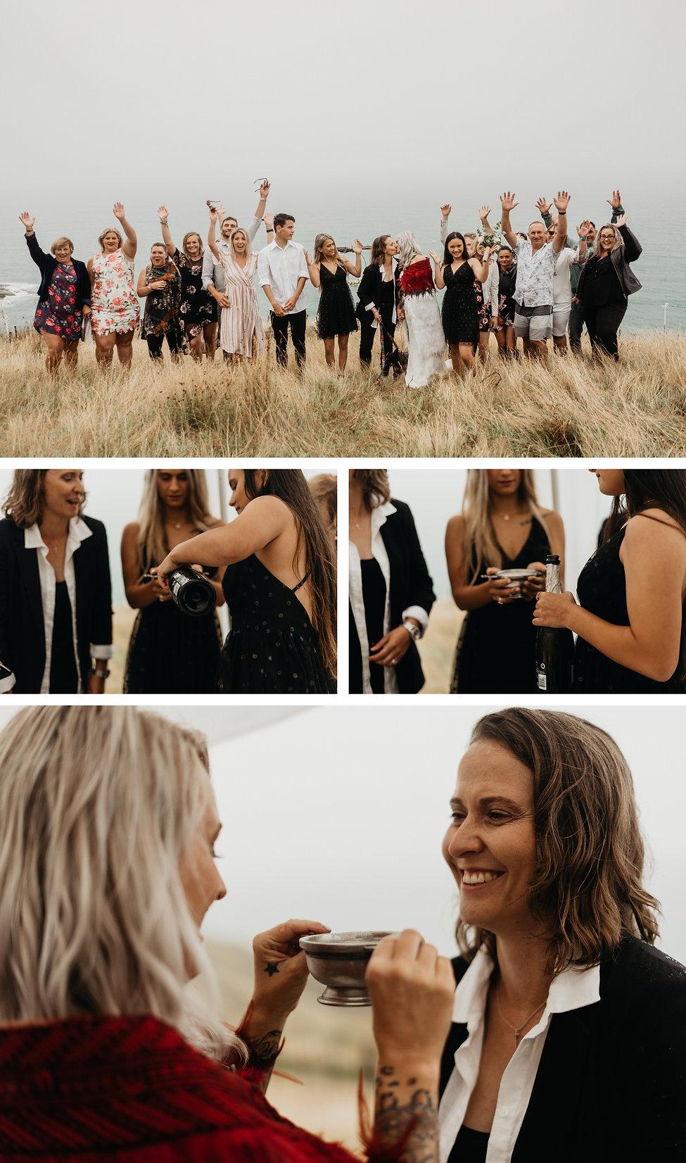 intimate lesbian wedding captured by wanderlusting lovers, mahia, east cape of new zealand, viking wedding tradition