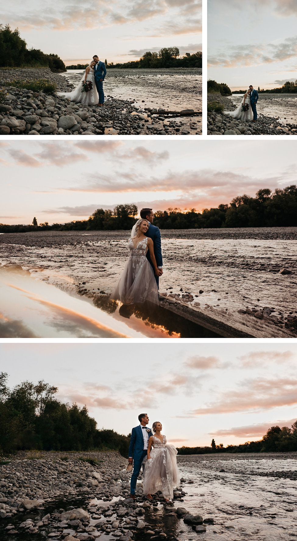sunset wedding photo, taken at rose & smith, in featherston, new zealand