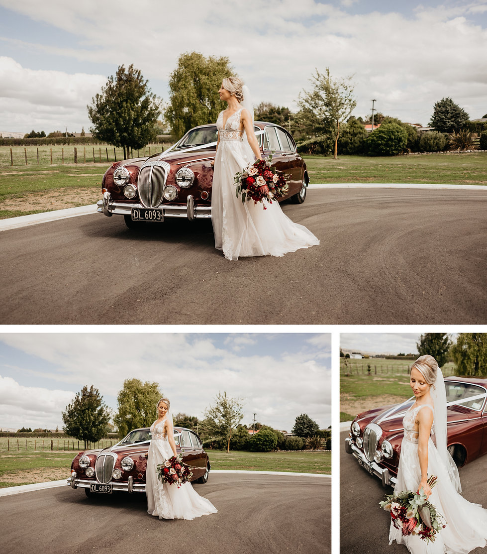bridal photos in featherson wedding, vintage car hire photos, wellington wedding day