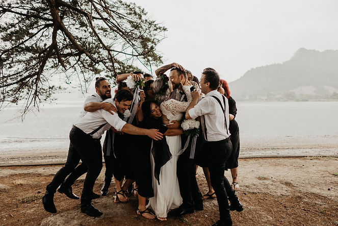 bridal party photos captured on Huia, Aucklands West Coast