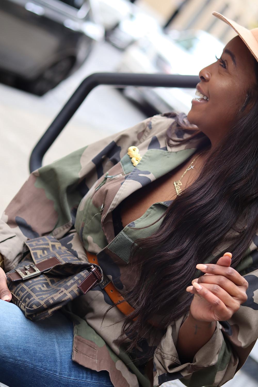 pre-loved fashion, camo jacket, flare denim, fendi bag, fedora,ysl belt