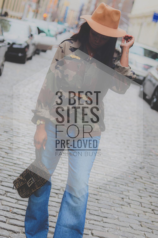 3 pre loved sites for fashion buys. Camo Jacket,  Flare denim, fendi bag.
