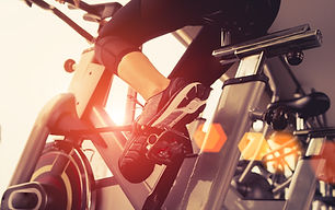 Exercise bike cardio workout at fitness