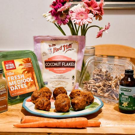 Carrot Cake Date Ball Recipe, Gluten-Free, Dairy-Free, No Sugar Added