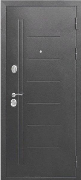 Ferroni 10см Троя Серебро Царга входная дверь с черным стеклом
