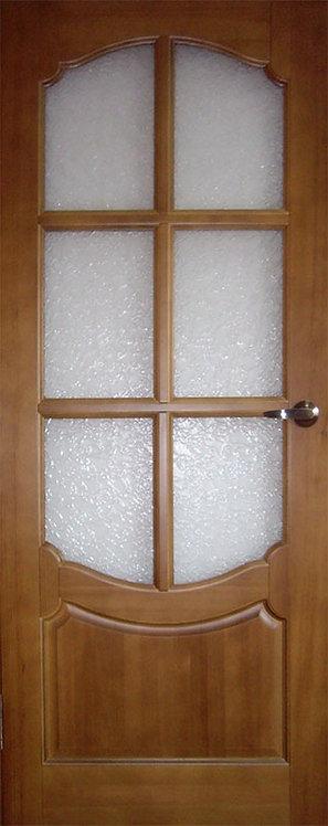 Межкомнатная дверь O-6 из массива сосны со стеклом