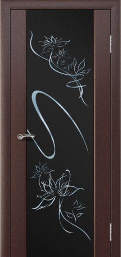 Альвион Милена-3 межкомнатная дверь черное стекло с рисунком