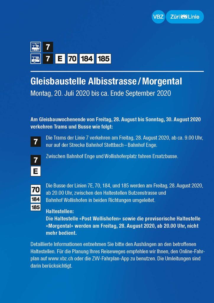 Verkehrsführung und öffentlicher Verkehr Gleisbaustelle Albisstrasse /Morgental