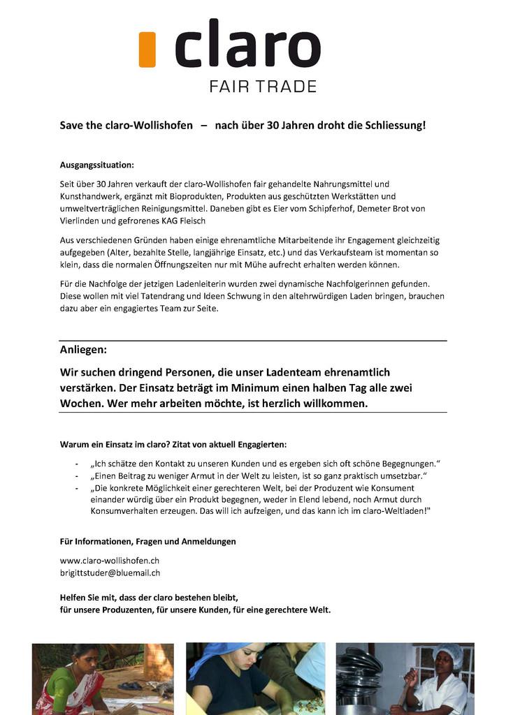 Save the claro-Wollishofen   –   nach über 30 Jahren droht die Schliessung!