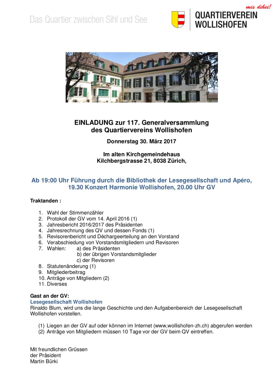 einladung zur 117. generalversammlung des qv wollishofen, Einladung