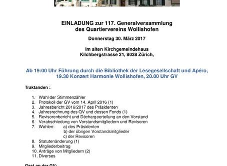 Einladung zur 117. Generalversammlung des QV Wollishofen
