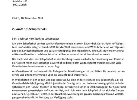 Brief an Stadtrat: Zukunft des Schipferhofs