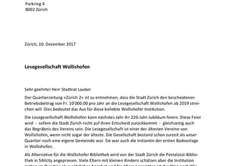 Brief an Stadtrat: Lesegesellschaft Wollishofen