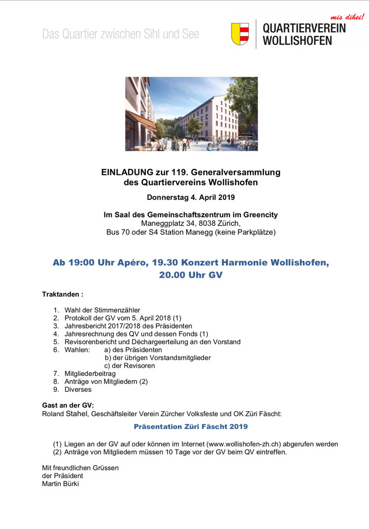 Einladung zur 119. GV des QV Wollishofen