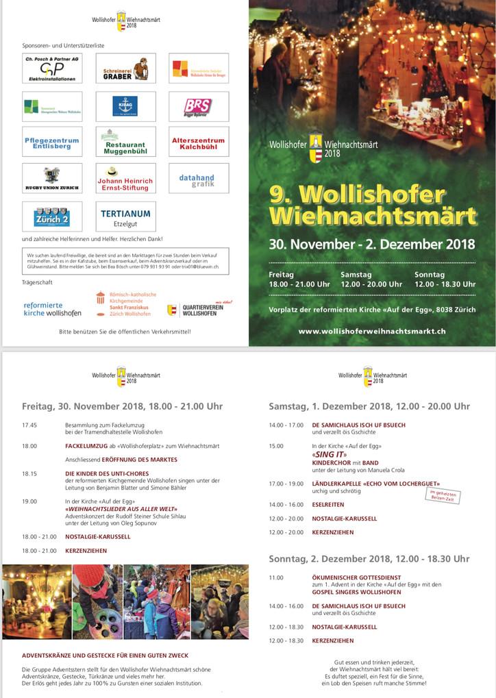 Wiehnachtsmärt 30. November bis 2. Dezember 2018
