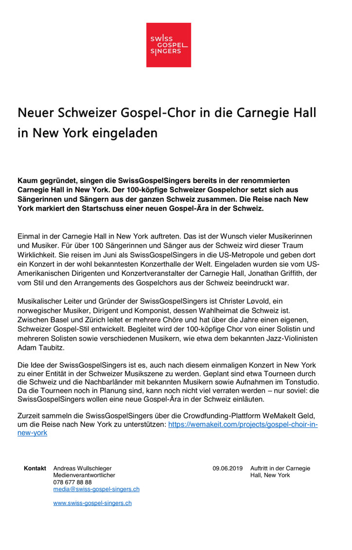 Gospel-Chor in die Carnegie Hall in New York eingeladen