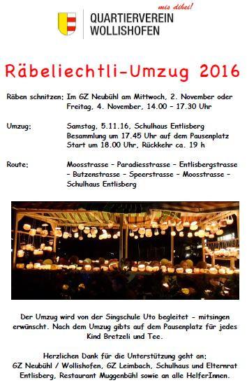 Räbeliechtliumzug am 5. November 2016