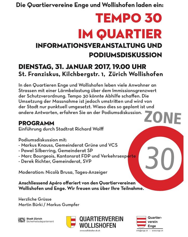 Tempo 30 im Quartier Informationsveranstaltung und Podiumsdiskussion