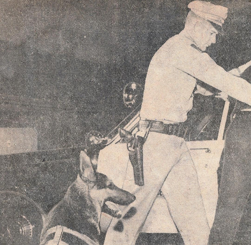 El Cajon Police Department Officer William J. Cox and his police dog Lobo, circa 1966-67. Prominent is Officer Cox's Smith & Wesson Model 29 with a six inch barrel. Courtesy the William J. Cox Collection.