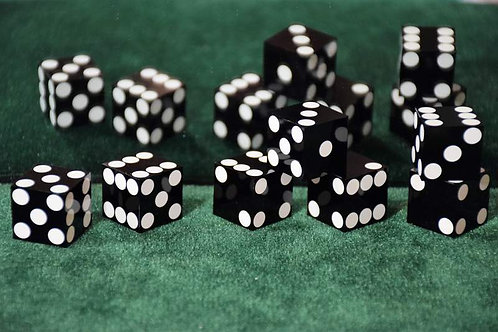 Set of Dice ''Tops'' and French Dice (7 dice) Black