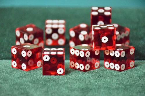 Set of Dice ''Tops'' (5 dice) Dark Red Ring Eye