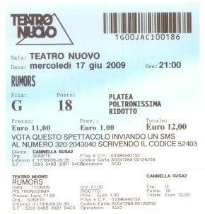 Il biglietto della replica al Teatro Nuovo di MIlano