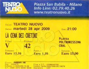 Il biglietto della replica al Nuovo di Milano