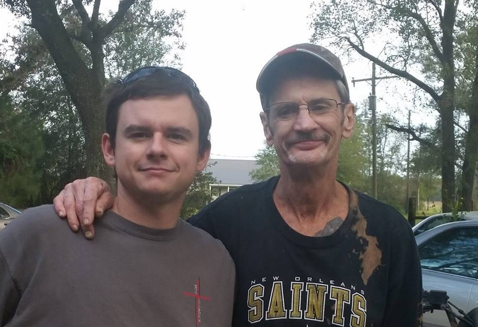 Brent Woods with his father