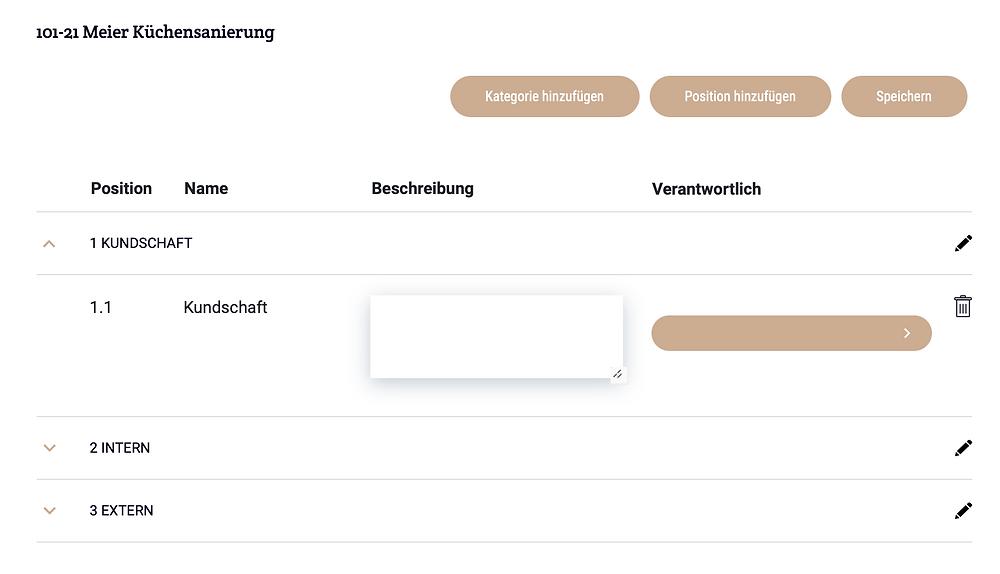 Positionen-Liste: Kategorien und Positionen hinzufügen