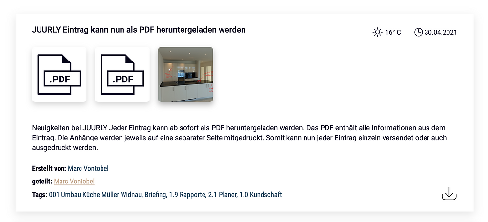 Eintrag als PDF runterladen