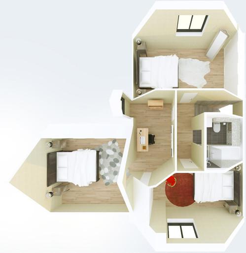 Restructuration d'une maison pavillonaire, déplacement de l'entrée principale, création de chambres et salles de bain [78]