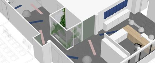 Aménagement complet, 2 500 m² de bureaux, 3 plateaux, banque d'accueil, work café à Pessac [33]