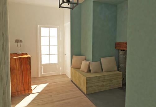 Restructurationd'une séquence d'entrée avec couloir, chambre et salle de bain à  Solignac [87].