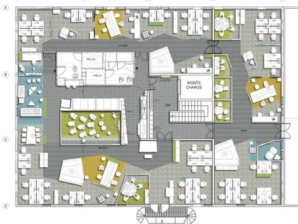 Aménagement d'un plateau de bureaux, ouvertures en façades et pergola pour la DISFE de La Poste à Gradignan [33].