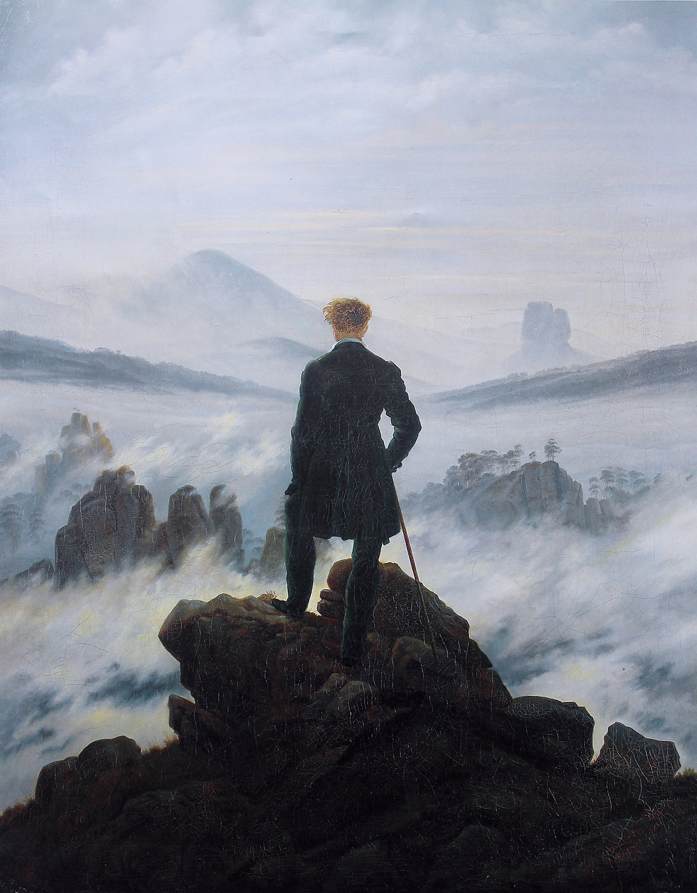 Fog, cliff, man on a cliff, mountain range, man in a suit, walking stick