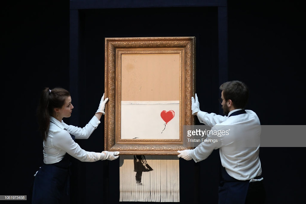 Shredded painting of Girl with Balloon by Banksy