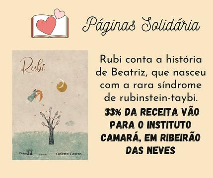 Livro Rubi, e o anúncio de que 33% de sua receita vai para Instituto Camará.