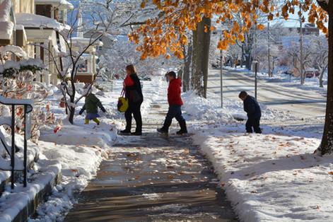 Heading to church on a snowy Sunday