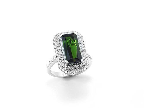 [ R09 ] 18K White Gold  Green Tourmaline Ring