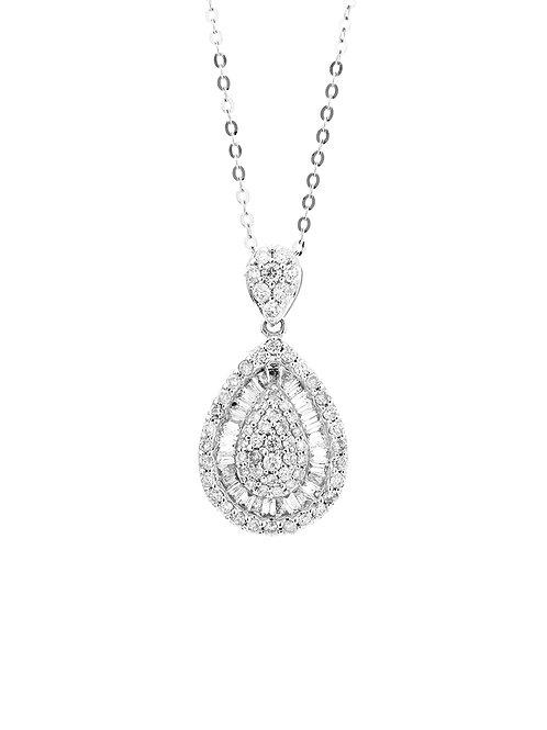 [ N36 ] 18K White Gold Diamond Necklace