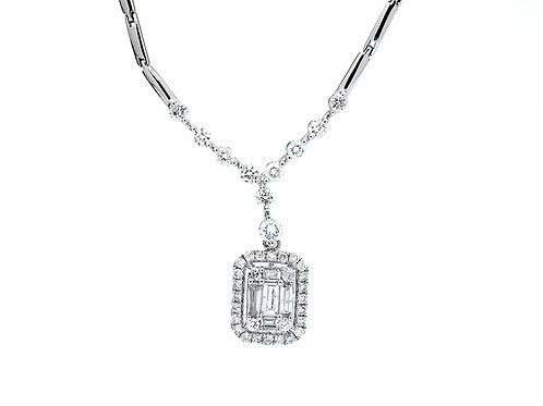 [ N44 ] 18K White Gold Diamond Necklace