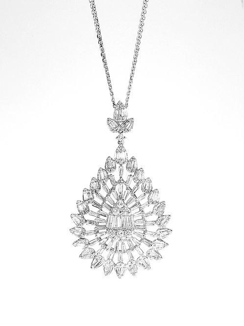 [ N43 ] 18K White Gold Diamond Necklace